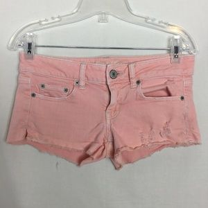 American Eagle Pink Distressed Jean Cut off Shorts